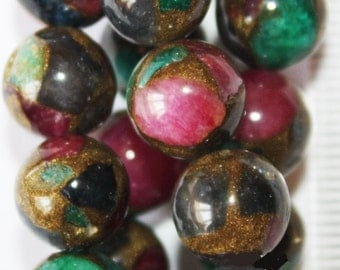 """Mosaic Agate Beads - Round 10 mm Beads  - Full Strand 15"""", 39 beads, A-Quality"""