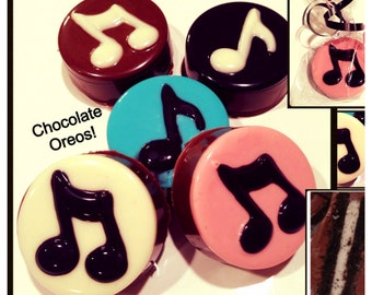 Music Note - music chocolate covered oreos - Set of 12 music favors