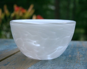 White Glass Bowl - Handblown