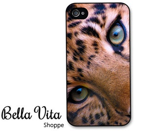 Leopard iPhone 4 Case -  Leopard Eyes  iPhone 4s Case, iPhone 4 Protective Case, Cases for iPhone 4, Rubber iPhone Case (4083)