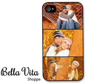 iPhone 4 Case Custom Photo Booth Style - Your Three Pictures - Personalized iPhone 4 Cover I4C
