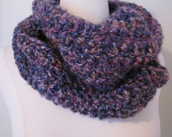 Cozy Berry Crochet Infinity Scarf in Purple and Pink, Vegan Friendly