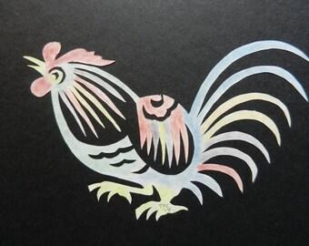 Chinese inspired Rooster Scherenschnitte
