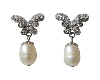 Butterfly & Freshwater Pearl Delicate Drop Earrings