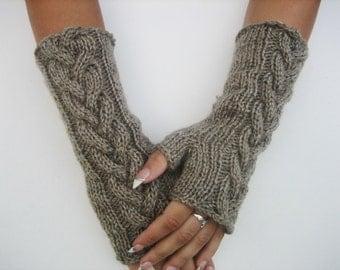 Knitted Gray Fingerless Half Gloves, women gloves women mittens knit fingerless gift Woman, Handmade, winter accessories, winter fingerless
