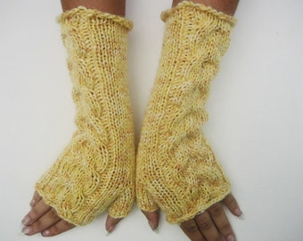 Knitted Yellow Fingerless Half Gloves with Cable, Woman, Handmade winter glove scable gloves women yellow fingerless knit fingerless