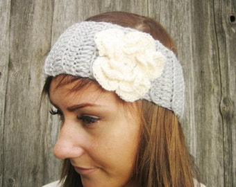Crochet Headband Flower Earwarmer Head Wrap Gray Hat Girly Romantic, women winter hair accessory, Valentines day gift