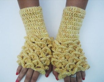 Fingerless gloves Crocheted Gloves Arm Warmers Yellow Neutral Accessory, women fingerless dragon scales  crocodile stick winter accessory