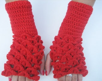 dragon scale gloves Fingerless christmas gift red women figerless gloves red mittens Arm Warmers Red Neutral Accessory, winter accessory