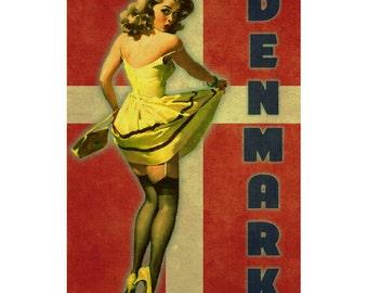 DENMARK 1P- Handmade Leather Mini Wallet / Cardholder - Travel Art