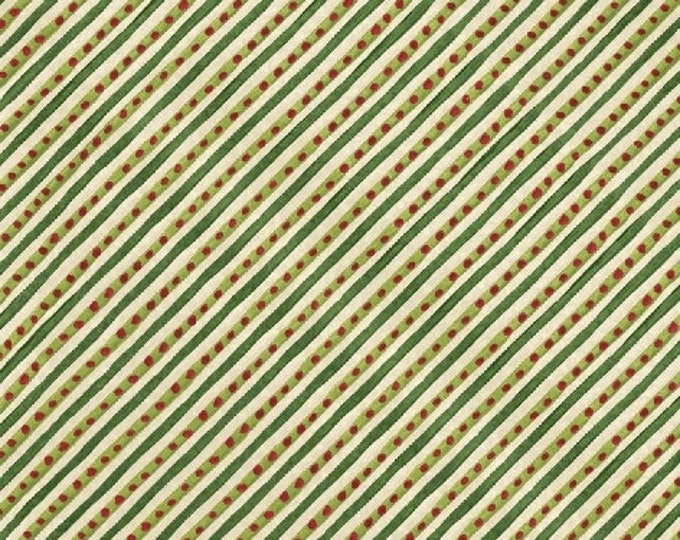 SUPER CLEARANCE! One Yard 12 Days of Christmas - Candy Cane Stripe in Green Cotton Quilt Fabric - by Kate McRostie - Windham Fabrics (W328)
