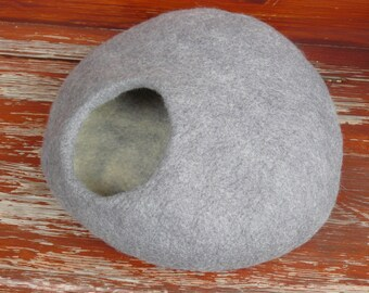 Felted Cat bed /Cat Cave/ Cocoon/ Cat House / Gray  Stone and GIFT