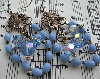 Assemblage Earrings, Vintage Rosary Assemblage, Blue Rosary Earrings, Upcycled Jewelry, Blue Crystal Earrings, Religious Assemblage