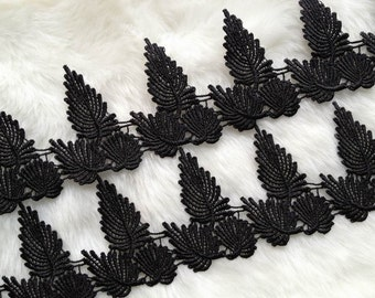 "Black Venice Lace Trim, Maple Leaf Pattern, Black Leaves Lace Trim 2.68"" wide 2 yards"