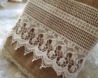 Cotton Lace Trim, Retro Crochet Lace, White Cotton Lace, Hollow-out Lace Trim