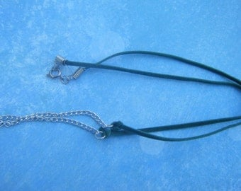 Green Suede Cord and Chain Necklace