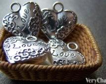 10 pcs of Antique Silver Lace Love Heart Charms Pendants 18x20mm A1962