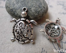 10 pcs of Antique Silver Swirly Flower Filigree Sea Turtle Charms 21x28mm A6084