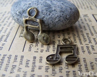 50 pcs of Antique Bronze Music Note Charms 14x14mm  A1708