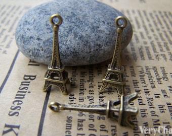 20 pcs of Antique Bronze 3D Eiffel Tower Charms 8x23mm A385