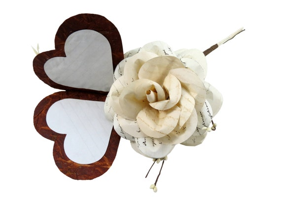 Valentine's Love Letter with Rose made from Music Sheets and Beige Heart and Cream Feathers