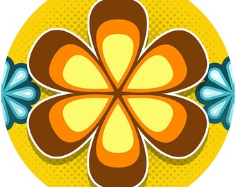 Mod Flower 70s Style Wall Decal Brown #40756