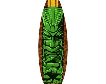Tiki Statue Surfboard Cut Out Wall Decal #41864