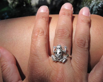 Sterling Frog Ring Size 9