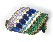 Blue green cuff bracelet, Wide bracelet, bohemian, boho chic, Rhinestone bracelet, hippie bracelet
