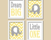 Elephant Nursery Art Yellow Gray Dream Big Little One Quote Inspirational Set of 4 Prints Baby Decor Boy Girl Nursery Kids Wall Art Picture
