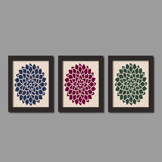 Items similar to home decor floral flower wall art linen for Best home decor on etsy