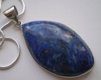 Lapis Lazuli (Natural) Sterling Silver Plated Necklace - 18 Inch