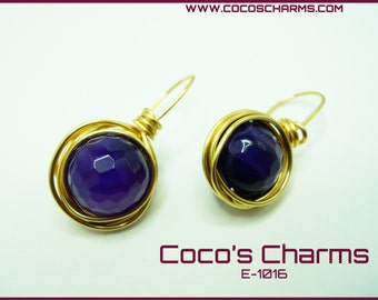 Purple Sphere Earrings - E-1016