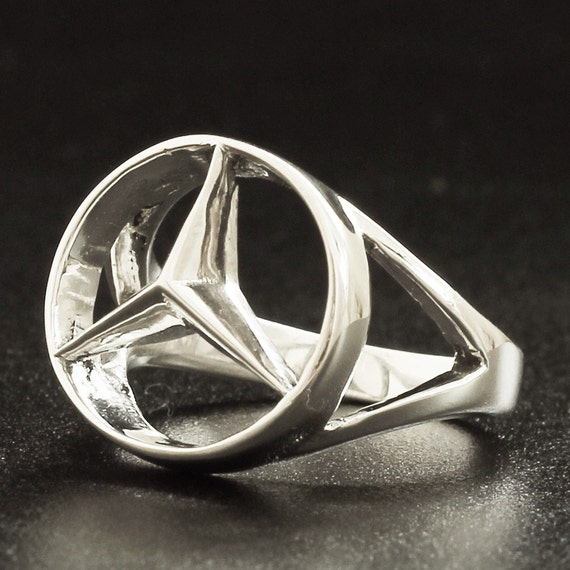 Silver mercedes benz ring concave hexagon by sterling925silver for Mercedes benz ring