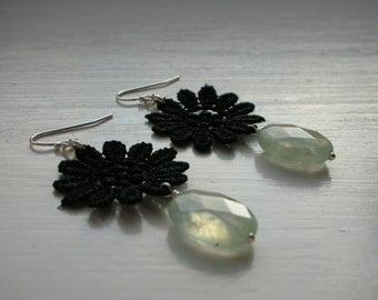 Sterling Silver Earrings with Black Lace Daisy and Prehnite Gemstones