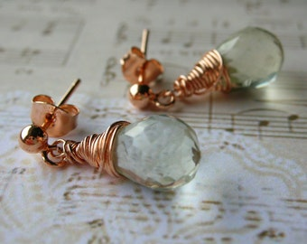 Green Amethyst Earrings - with Rose Gold plated 925 Sterling Silver