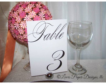 Set of 10 Vintage Scroll Black and White Table Numbers -Table Cards