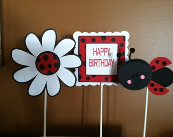 LADYBUG CENTERPIECE STICKS - Birthday Party Centerpiece Sticks - Birthday Party Decoration Sticks Set of 3