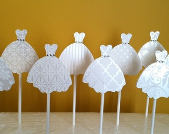 WEDDING DRESS CUPCAKE Toppers - Wedding Cupcake Toppers - Bridal Gown Set of 12