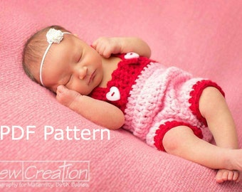 PDF Crochet Pattern Newborn Chunky Romper with Suspenders