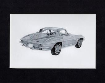 Car art drawing of a 1963 corvette