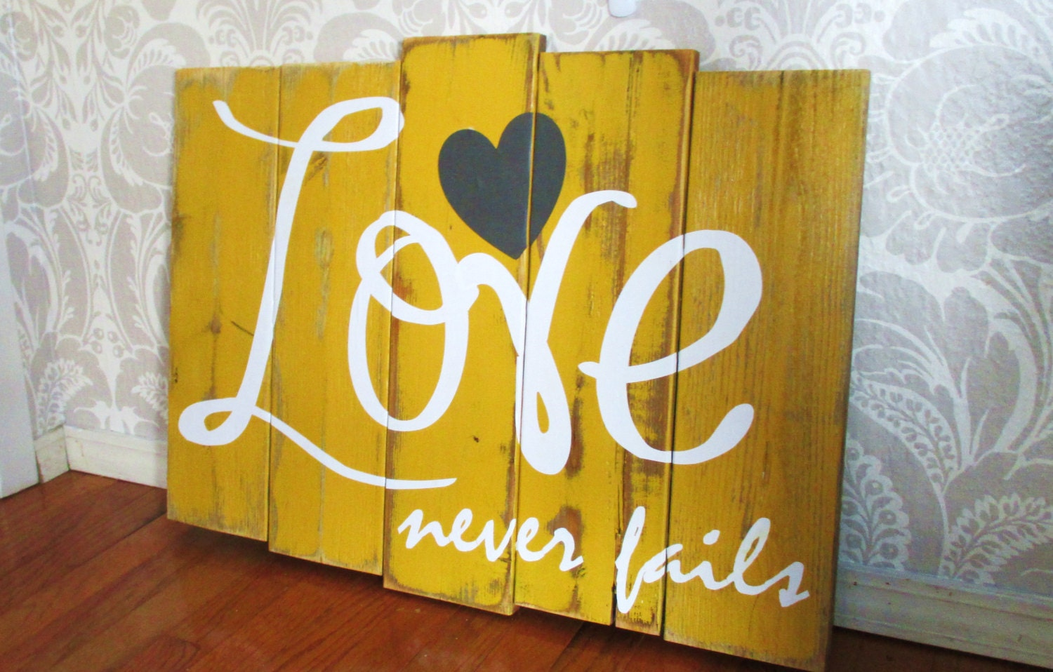 Large love never fails mustard yellow charcoal and white - Home accessories yellow ...