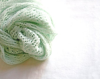 Wearable Fiber Art - Women's Accessory - Finest Hand-Knit Lace Shawl Made out of Cotton and Merino Wool in Mint Green, OOAK