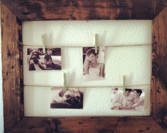 Rustic Clothesline Picture Frame, Picture Display, Seating Chart, Card Holder, Rustic Wedding, Unique Gift, Gallery Wall, Gift for Her
