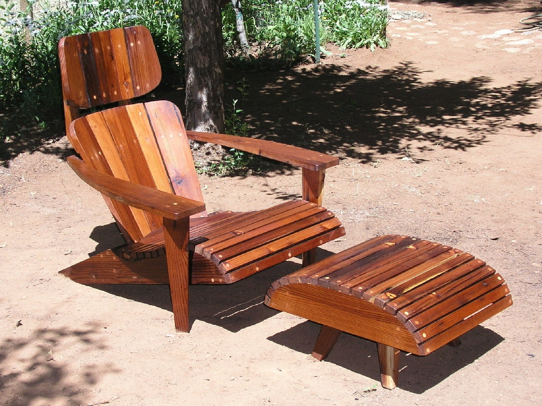 Mid century modern adirondack chair reclaimed redwood for Modern patio chairs