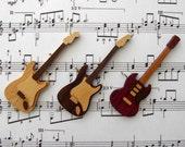 Wooden Guitar Pendant, Wood Music Pendant, Wooden Pendant, Wood Pendant, Guitar Necklace, Leather Cord, Handmade Pendant - VanAlphenStudio