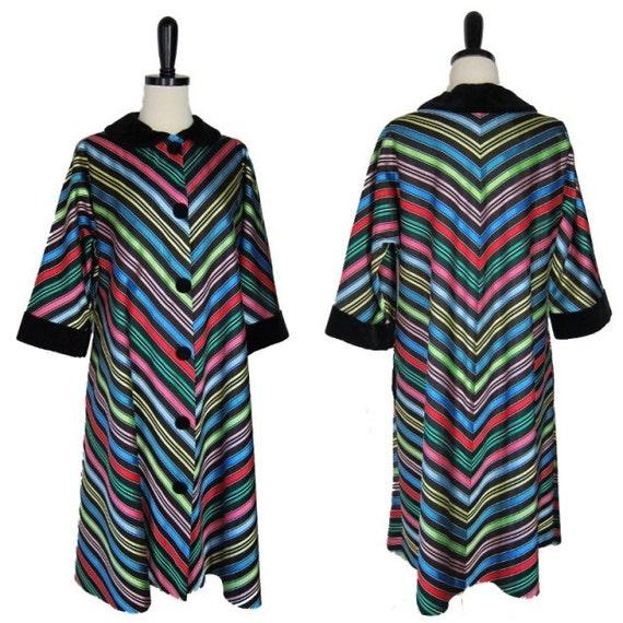 Vintage 1940s Swing Jacket Coat Chevron Stripe Rayon L XL Maxan