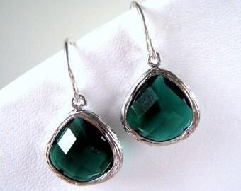 Emerald Earrings, Emerald May Birthstone Earrings, Bridesmaid, Wedding Jewelry, STERLING Silver Wires