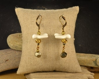 Dove porcelain and pyrite earrings
