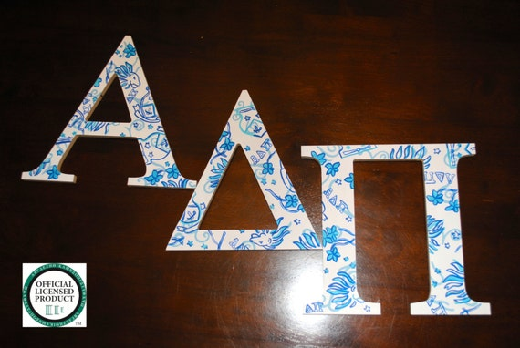 8in alpha delta pi wooden greek letters